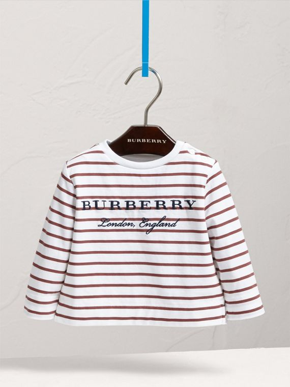 Embroidered Motif Striped Cotton Top in Antique Rose/white | Burberry - cell image 2