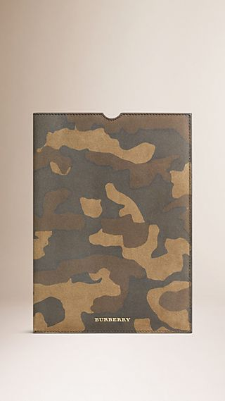 Camouflage Print Suede Ipad Case
