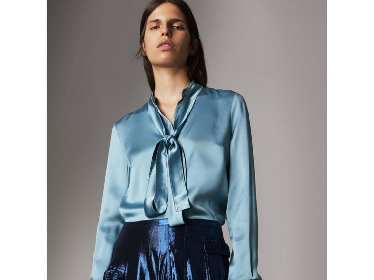 Silk Satin Tie-neck Shirt in Pale Blue - Women | Burberry - cell image 4