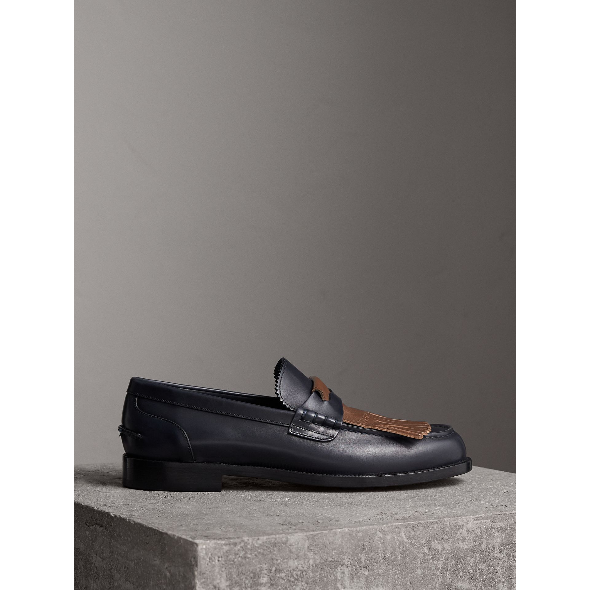 Contrast Kiltie Fringe Leather Loafers in Navy/dark Tan - Men | Burberry - gallery image 4