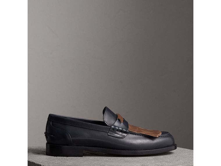 Contrast Kiltie Fringe Leather Loafers in Navy/dark Tan - Men | Burberry United Kingdom - cell image 4