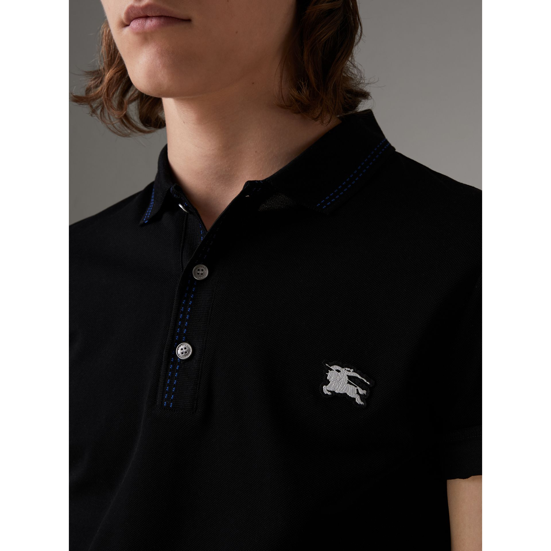 Cotton Piqué Polo Shirt in Black - Men | Burberry Canada - gallery image 1