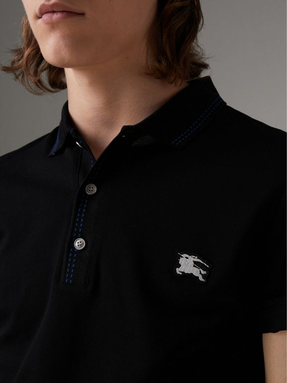 Cotton Piqué Polo Shirt in Black - Men | Burberry - cell image 1