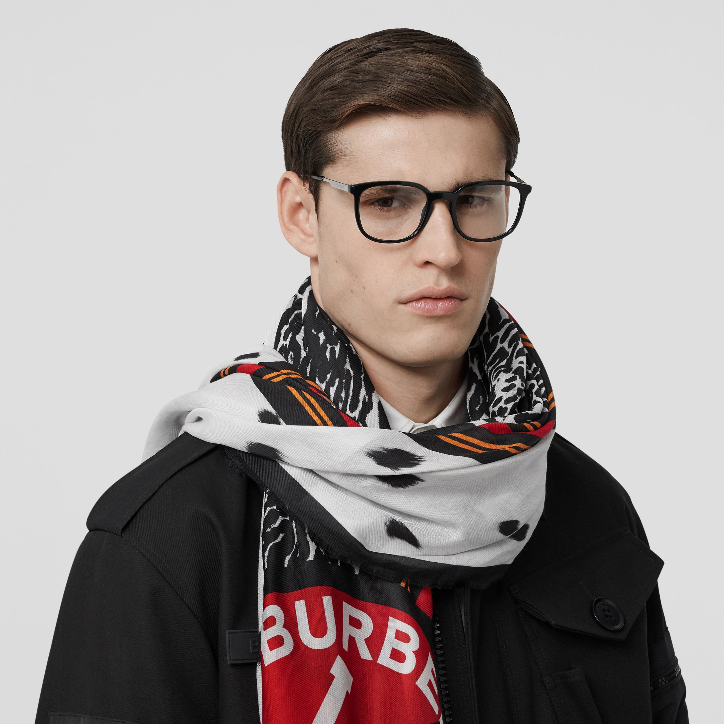 Montage Print Cotton Silk Large Square Scarf in Monochrome | Burberry - 4