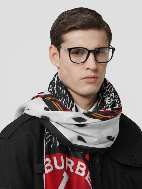 Montage Print Cotton Silk Large Square Scarf in Monochrome | Burberry - cell image 3