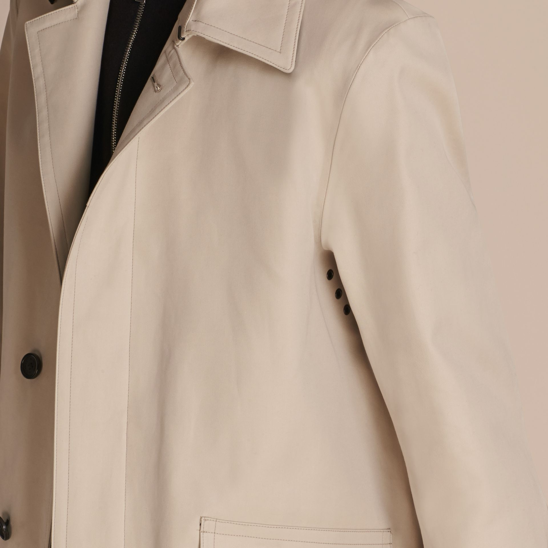 Showerproof Cotton Gabardine Car Coat in Stone - Men | Burberry - gallery image 6