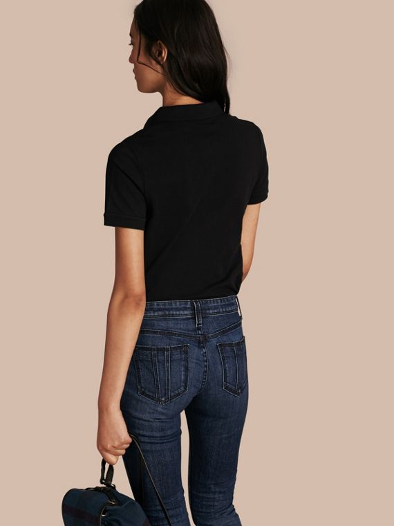 Check Trim Stretch Cotton Piqué Polo Shirt in Black - Women | Burberry Singapore - cell image 2