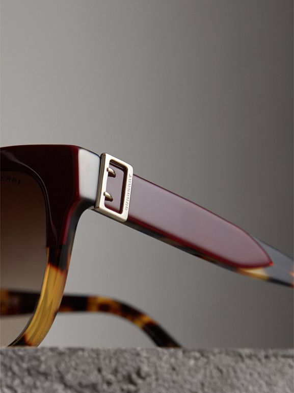 Buckle Detail Square Frame Sunglasses in Burgundy - Women | Burberry Canada - cell image 1