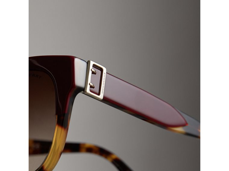 Buckle Detail Square Frame Sunglasses in Burgundy - Women | Burberry Singapore - cell image 1
