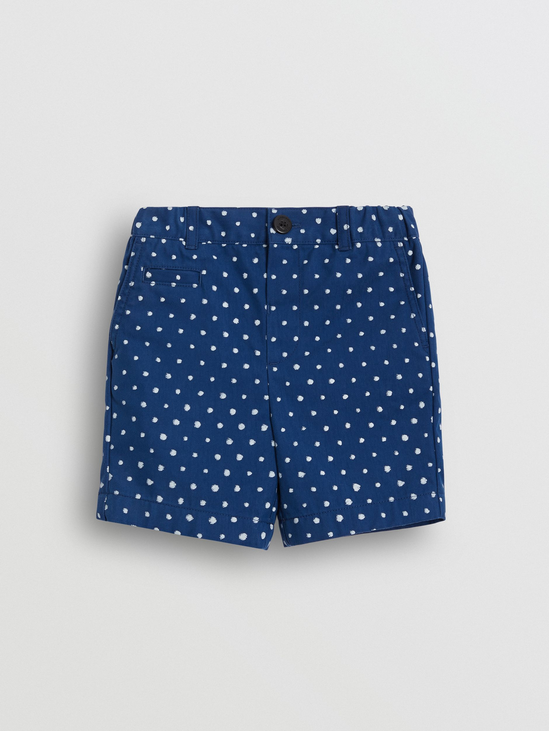 Spot Print Cotton Blend Shorts in Bright Navy - Children | Burberry - 1