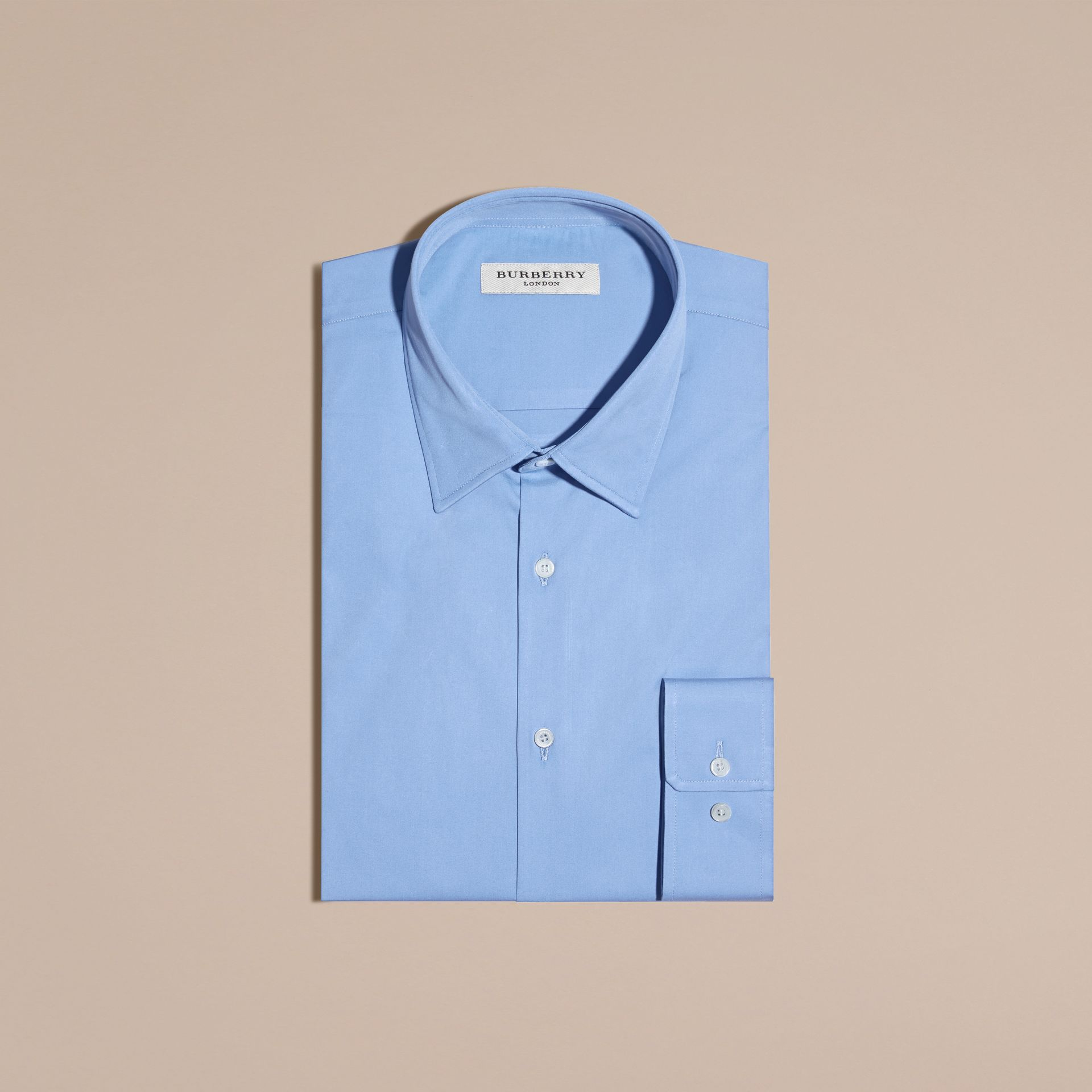 Modern Fit Stretch Cotton Shirt Mid Blue - gallery image 4