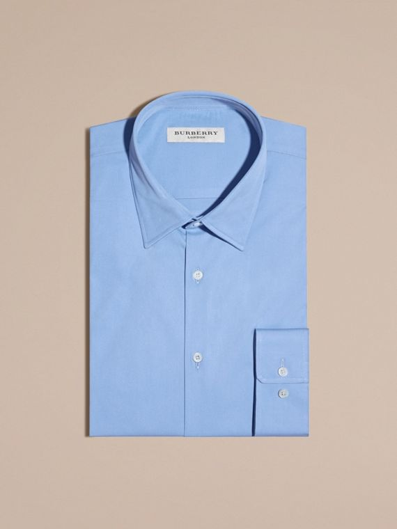 Mid blue Modern Fit Stretch Cotton Shirt Mid Blue - cell image 3