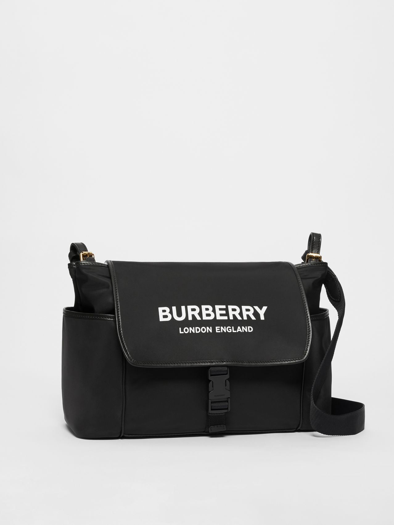 Logo Print Baby Changing Bag in Black