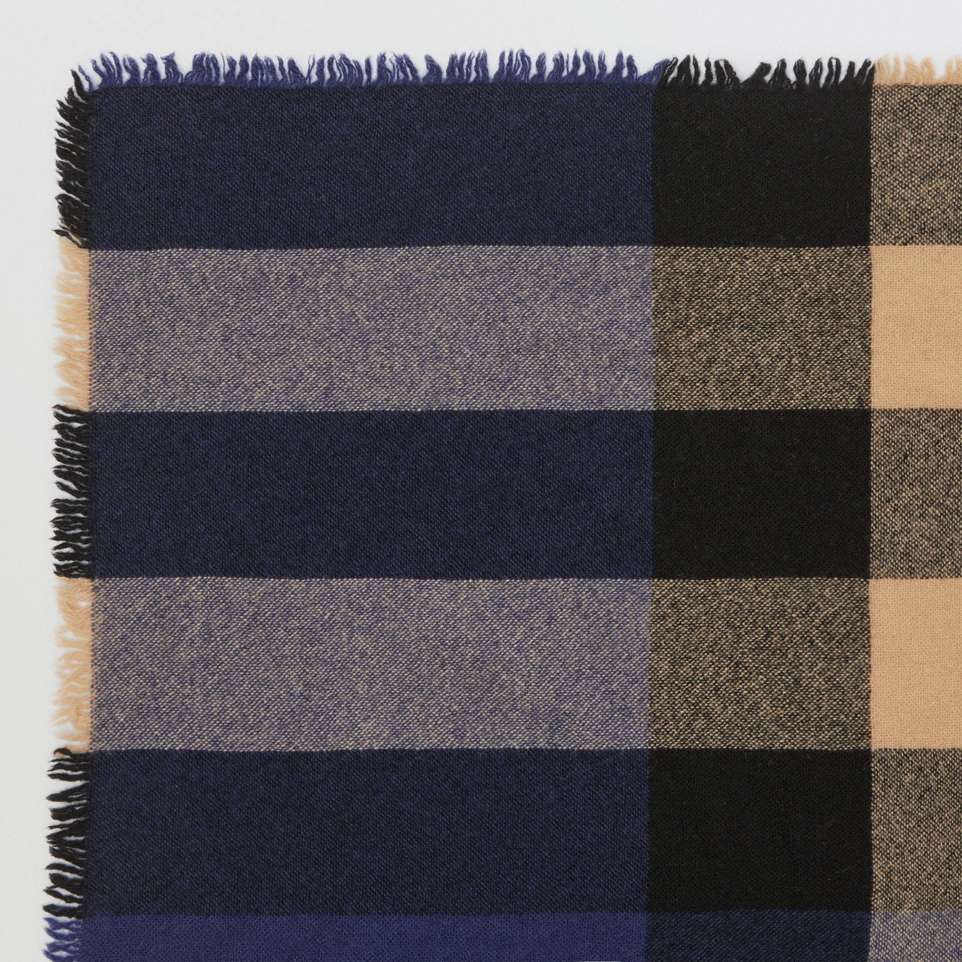 Fringed Check Wool Cashmere Scarf in Ink Blue | Burberry United States - gallery image 1