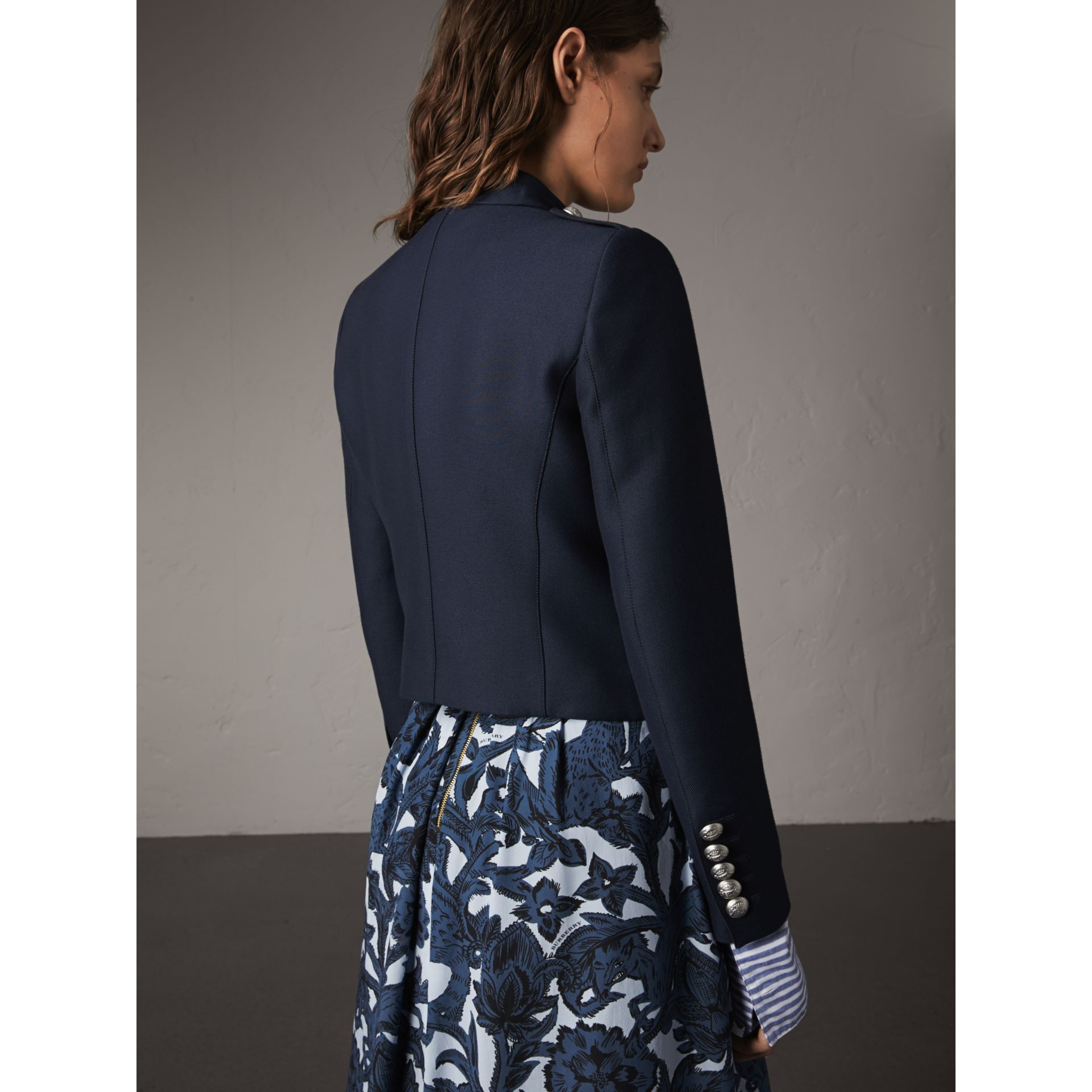 Resin Button Wool Cotton Blend Jacket in Ink Blue - Women | Burberry - gallery image 3