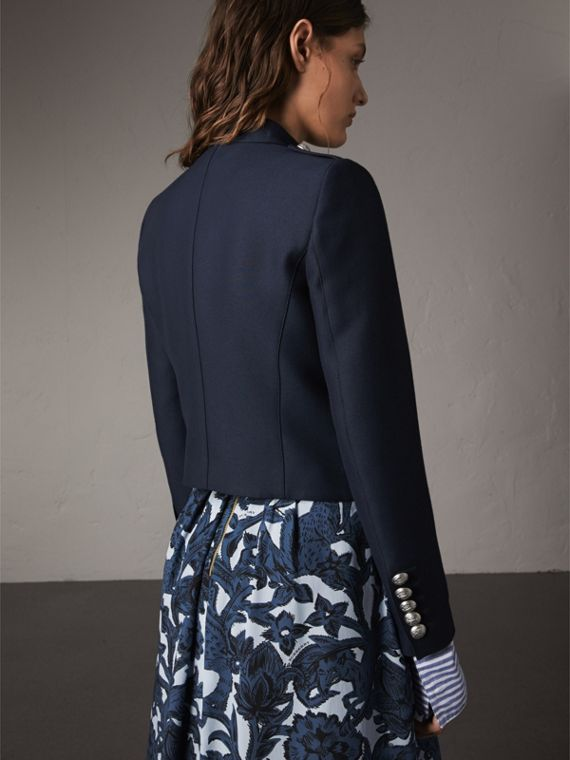Resin Button Wool Cotton Blend Jacket in Ink Blue - Women | Burberry Singapore - cell image 2