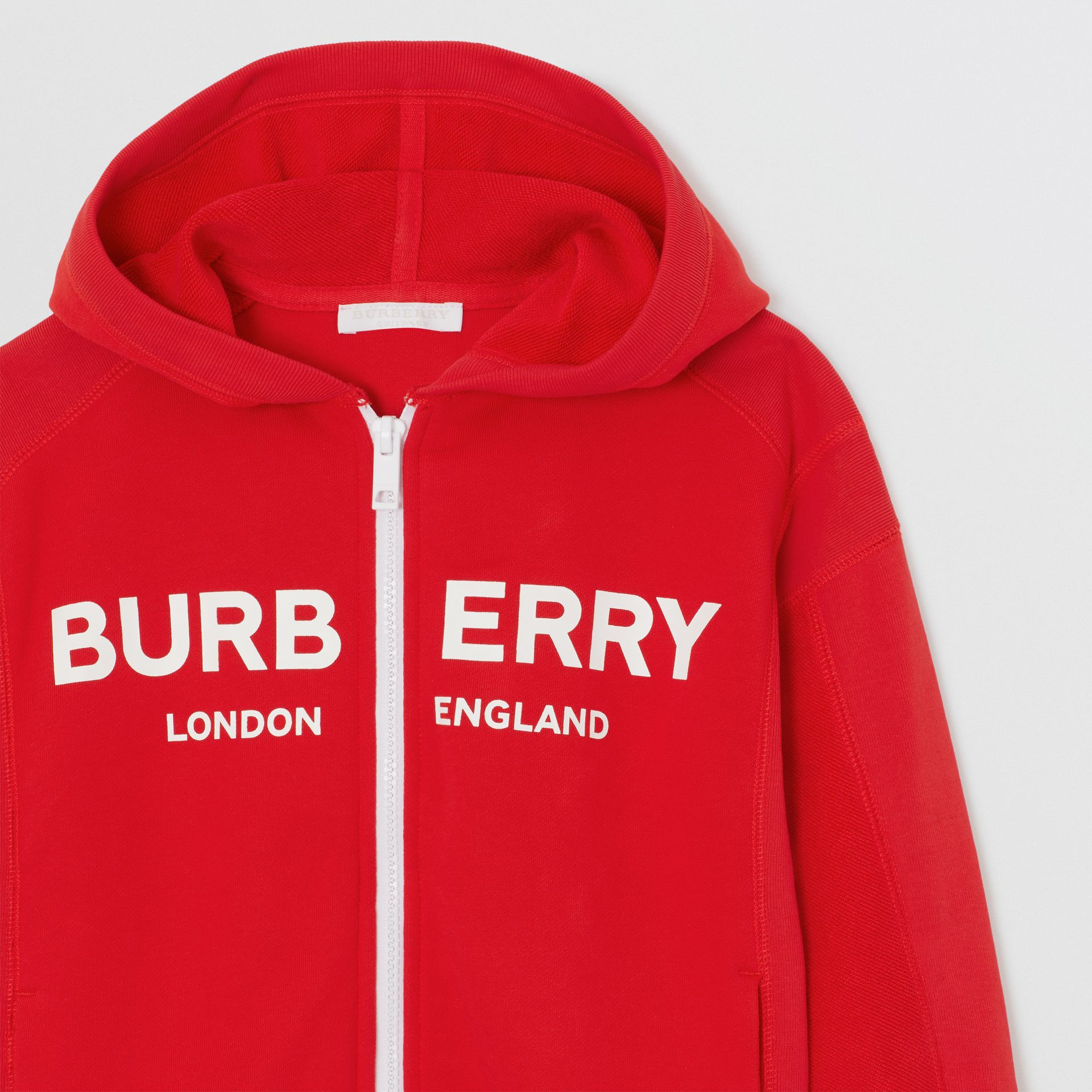 Logo Print Cotton Hooded Top in Bright Red | Burberry - gallery image 5