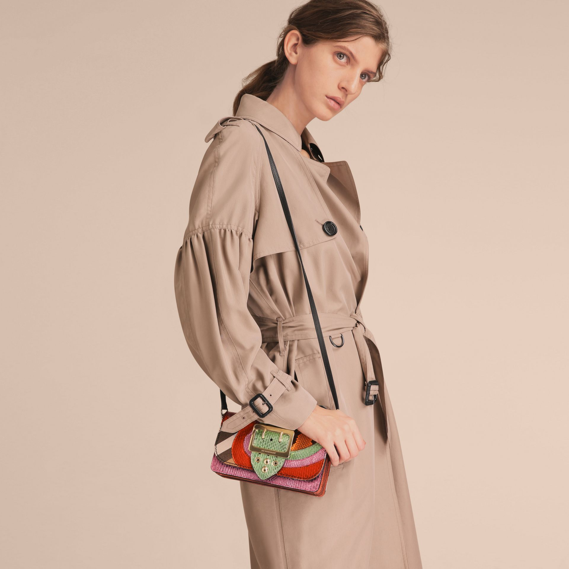The Small Buckle Bag in House Check and Snakeskin - gallery image 3