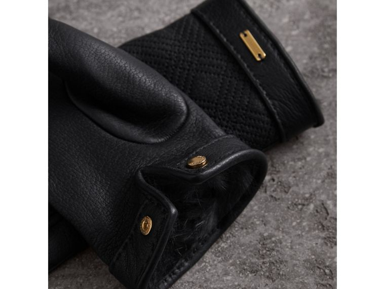 Check Embroidered Lambskin Gloves in Black - Women | Burberry - cell image 2