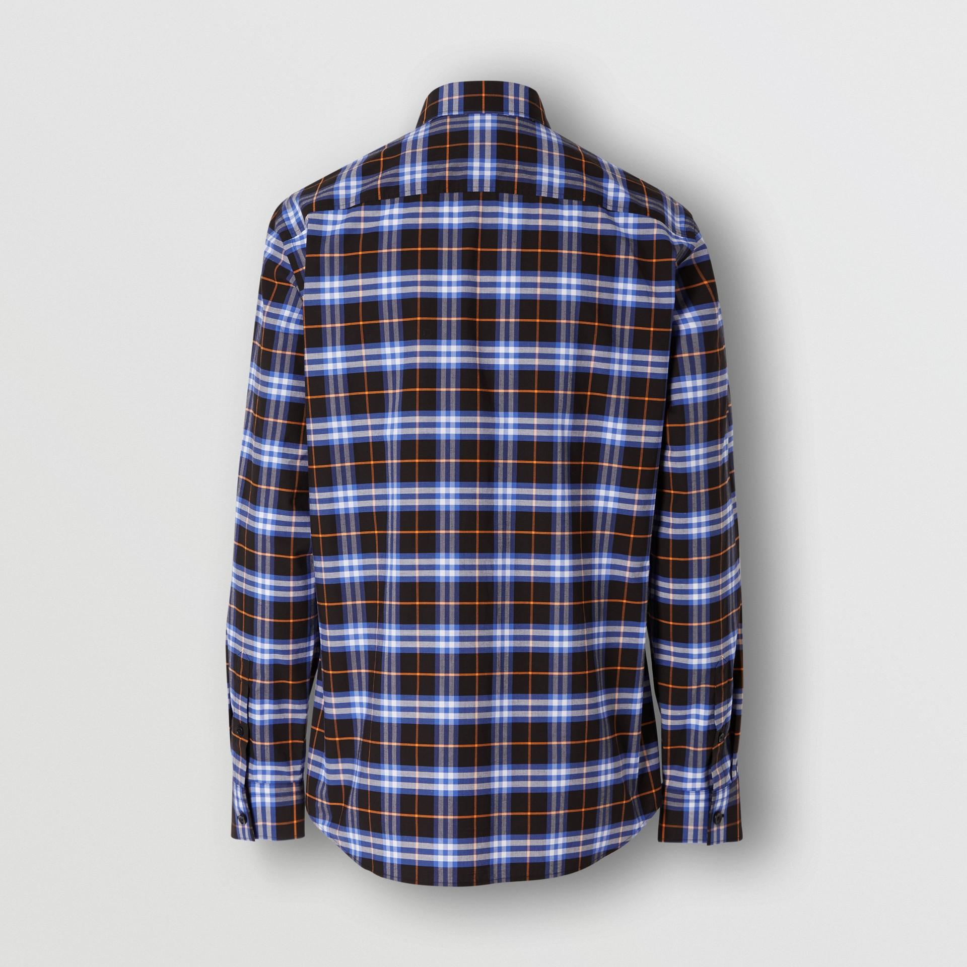 Small Scale Check Stretch Cotton Shirt in Melon - Men   Burberry Australia - gallery image 5