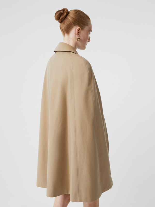 Leather Detail Cotton Gabardine Belted Cape in Honey - Women | Burberry - cell image 2