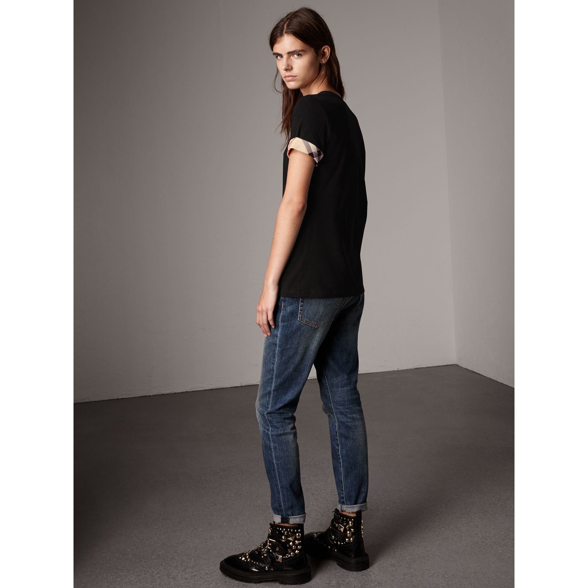 Check Cuff Stretch Cotton T-Shirt in Black - Women | Burberry United Kingdom - gallery image 3