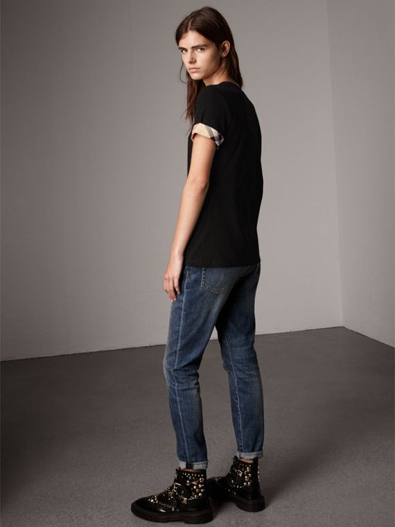 Check Cuff Stretch Cotton T-Shirt in Black - Women | Burberry United Kingdom - cell image 2