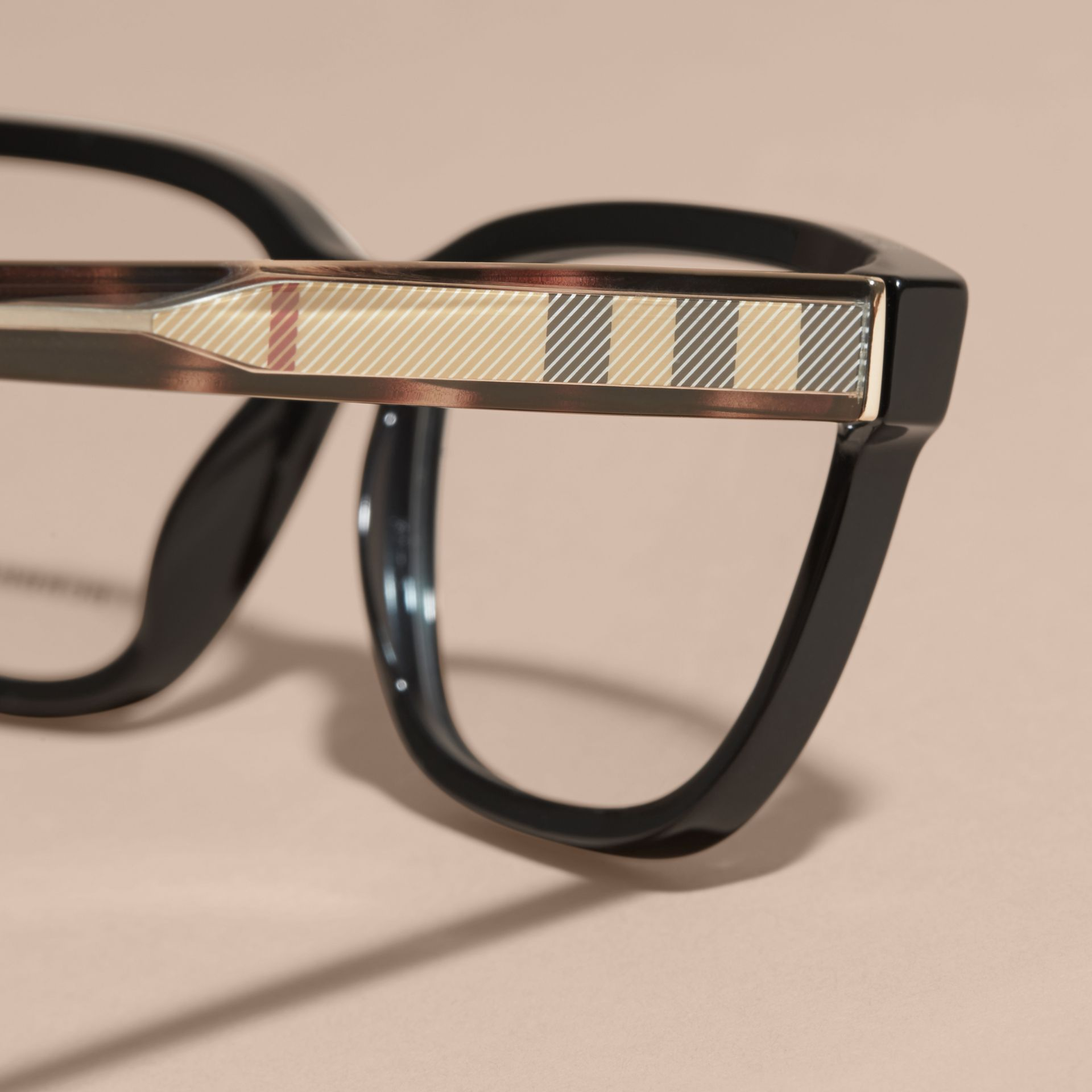 Black Check Detail Rectangular Optical Frames Black - gallery image 2