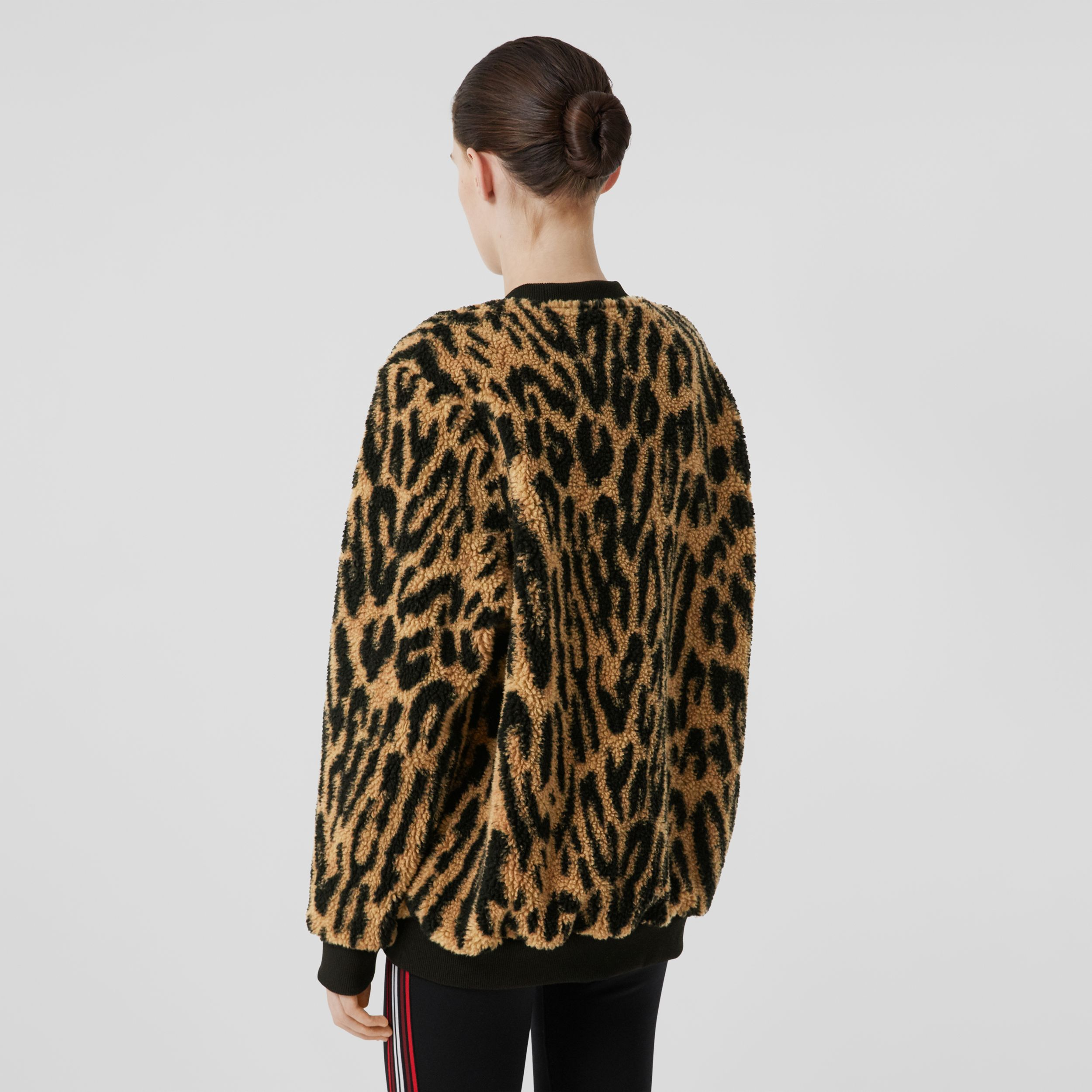 Logo Graphic Leopard Fleece Jacquard Sweatshirt in Dark Mustard - Women | Burberry - 3