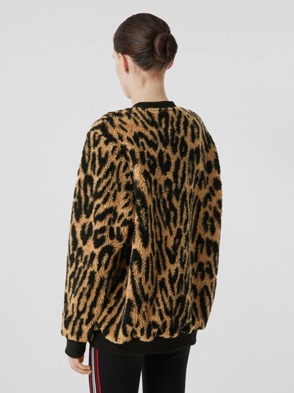 Logo Graphic Leopard Fleece Jacquard Sweatshirt in Dark Mustard - Women | Burberry - cell image 2