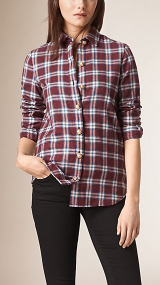 Slim Fit Check Cotton Shirt with Metal Button Detail
