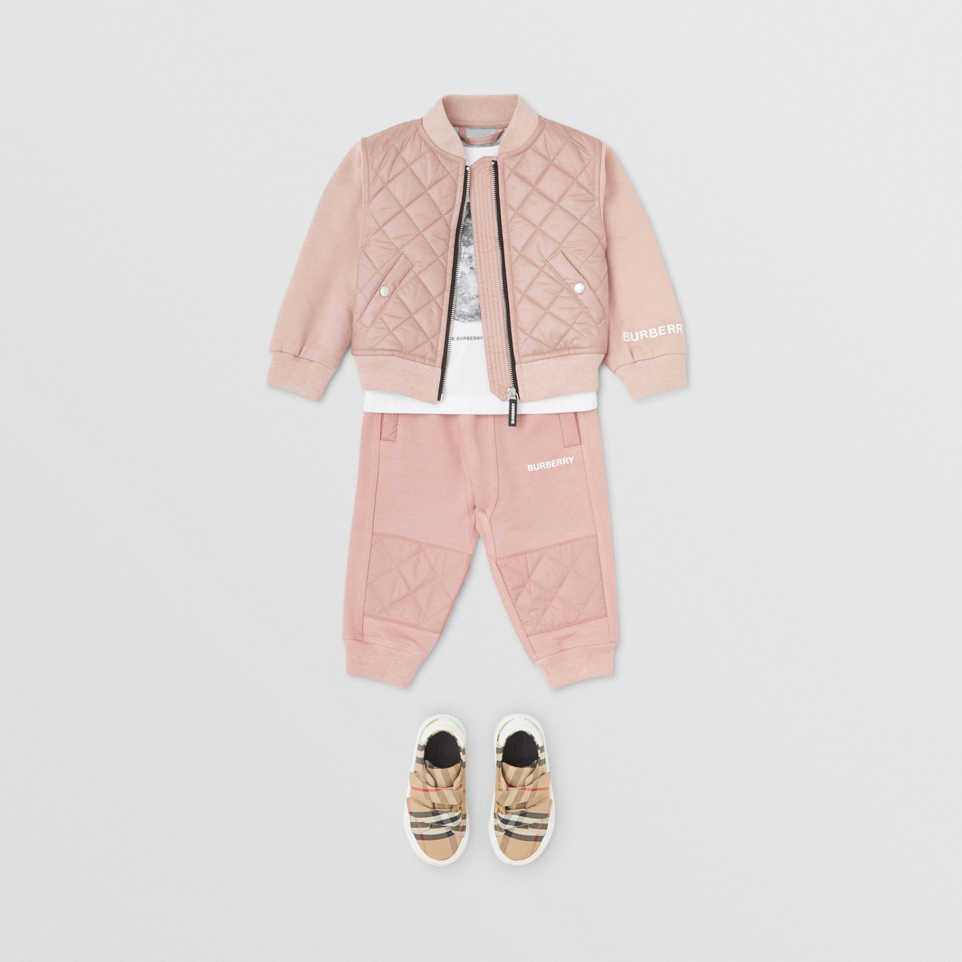 Diamond Quilted Detail Cotton Trackpants in Lavender Pink - Children | Burberry Singapore - gallery image 2