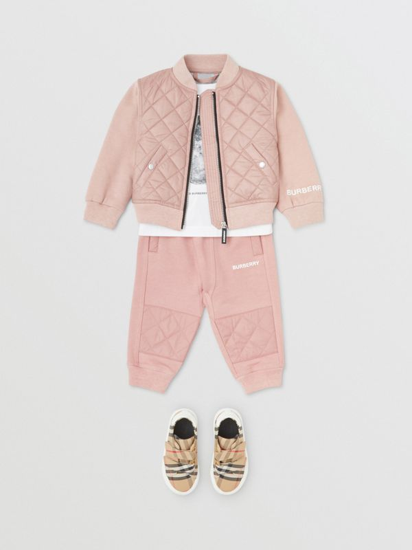 Diamond Quilted Detail Cotton Trackpants in Lavender Pink - Children | Burberry - cell image 2