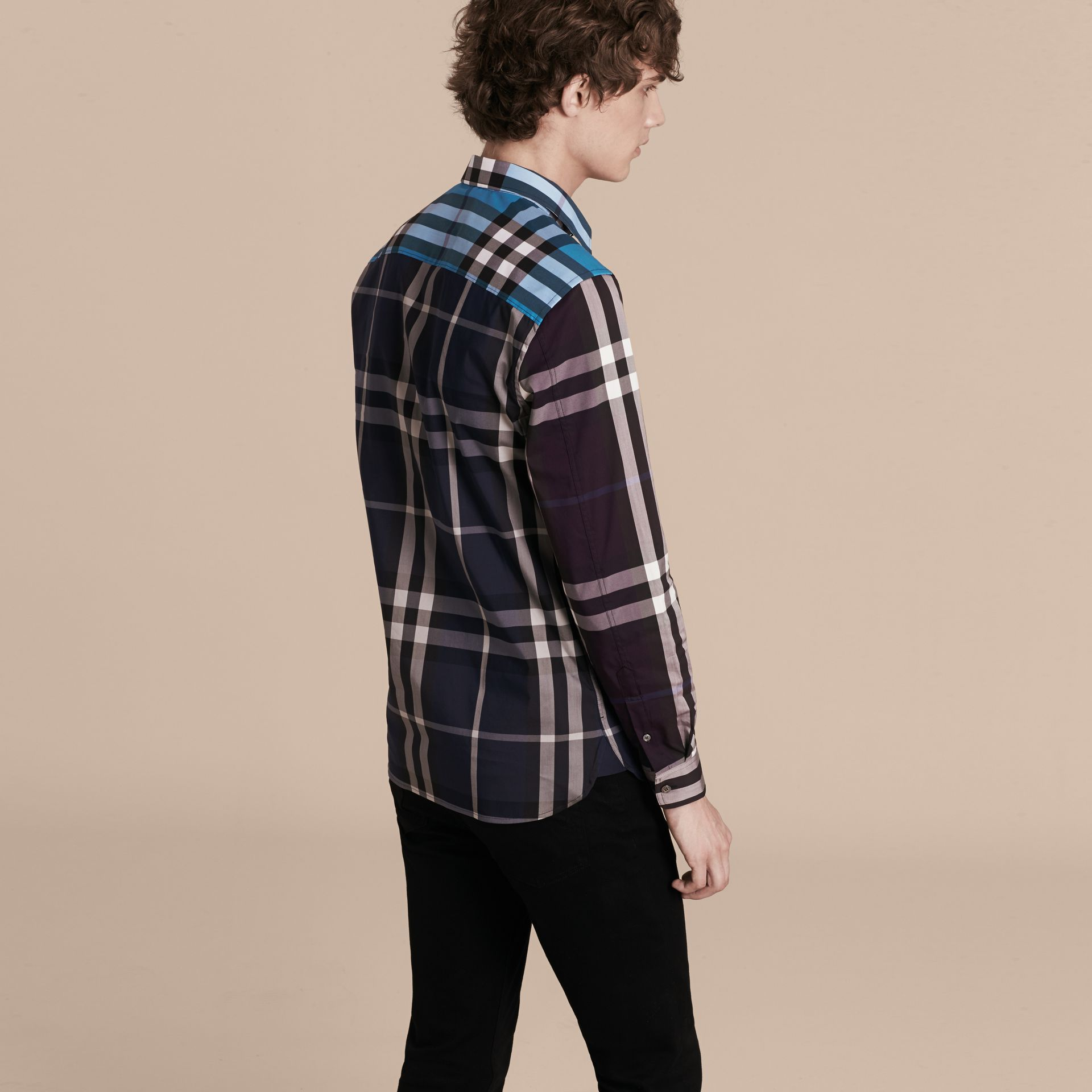 Ink Colour Block Check Cotton Blend Shirt Ink - gallery image 3