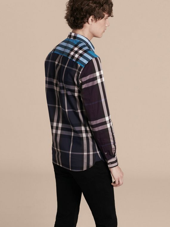 Ink Colour Block Check Cotton Blend Shirt Ink - cell image 2
