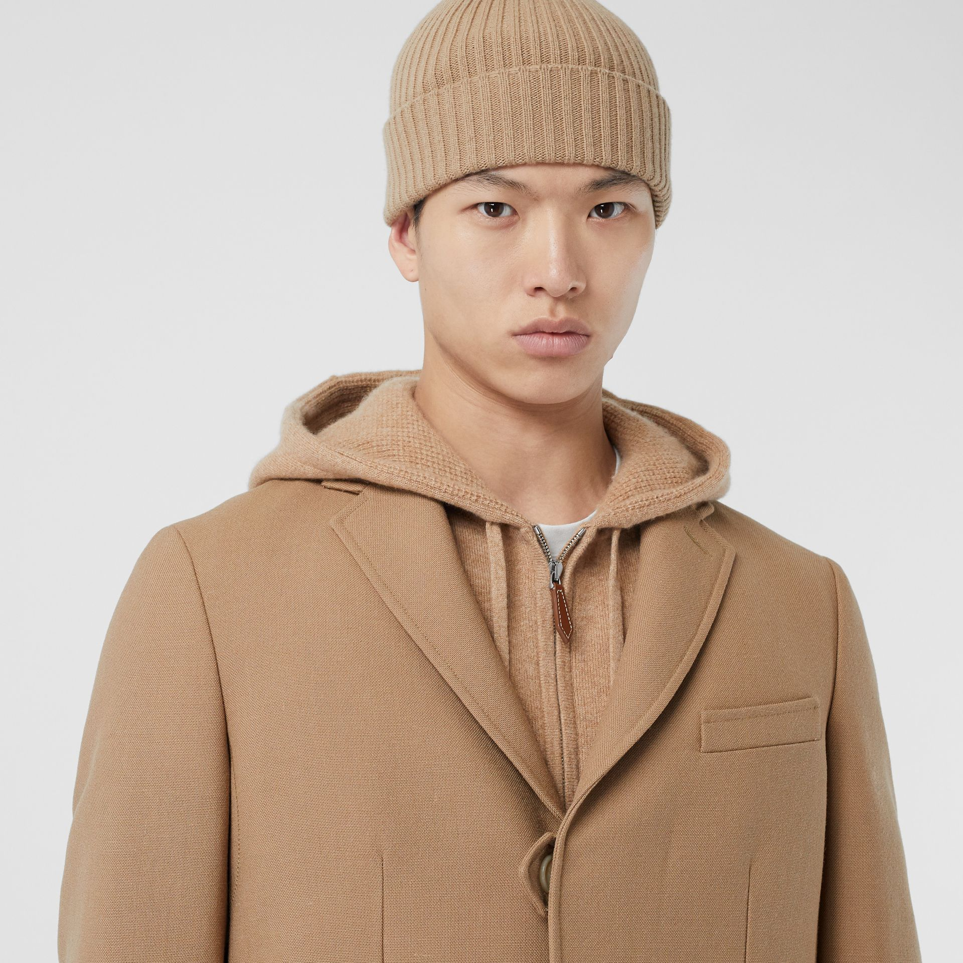 Logo Embroidered Wool Coat in Camel - Men | Burberry - gallery image 5