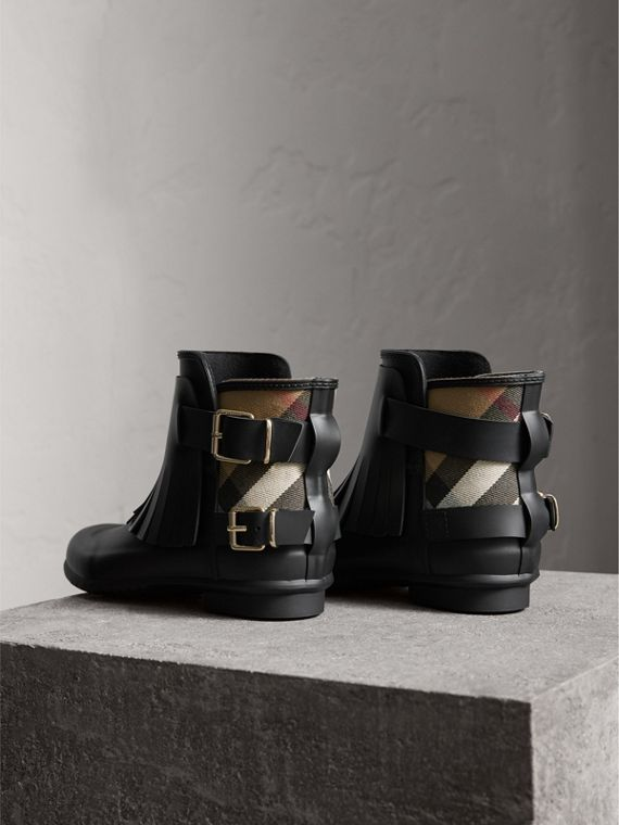 House Check and Fringed Rubber Rain Boots in Black - Women | Burberry - cell image 3