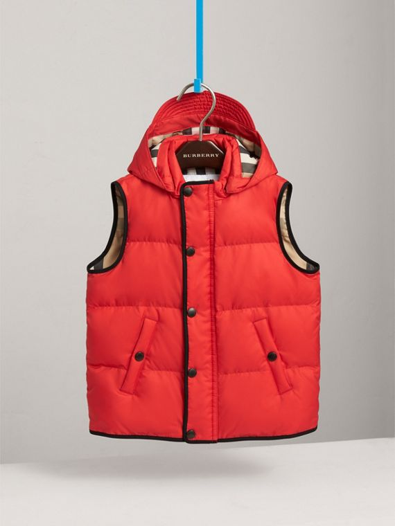 Down-filled Hooded Gilet in Bright Orange Red