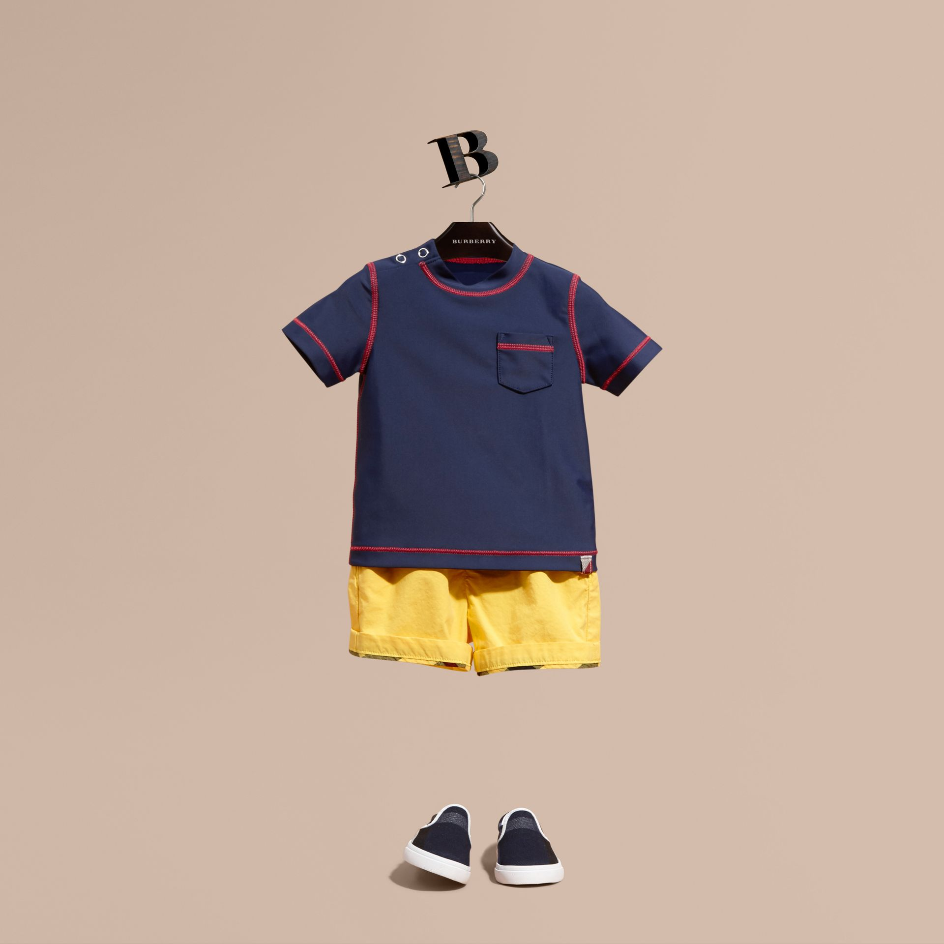 Contrast Topstitch Swim T-shirt in Navy | Burberry - gallery image 1