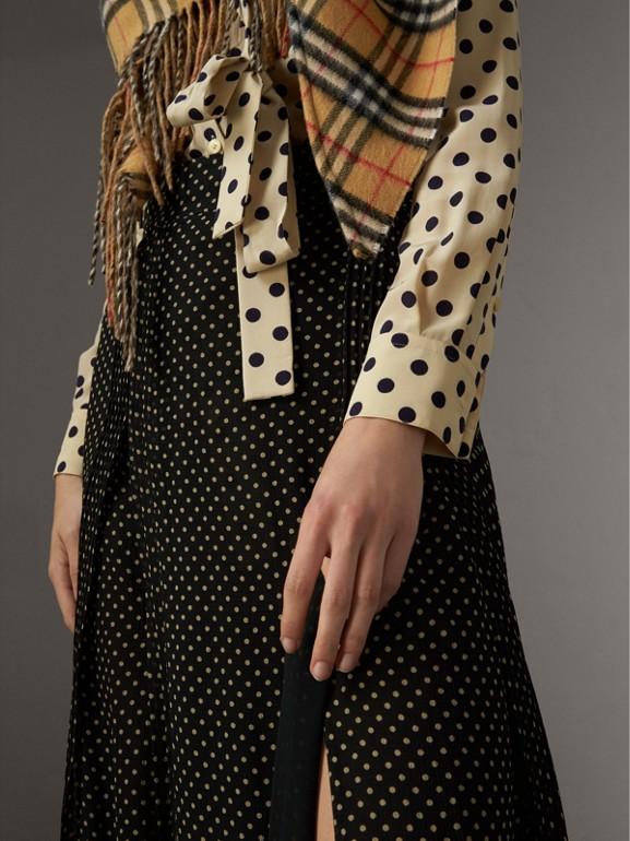 Pintuck Detail Dot Print Silk Skirt in Black - Women | Burberry - cell image 1