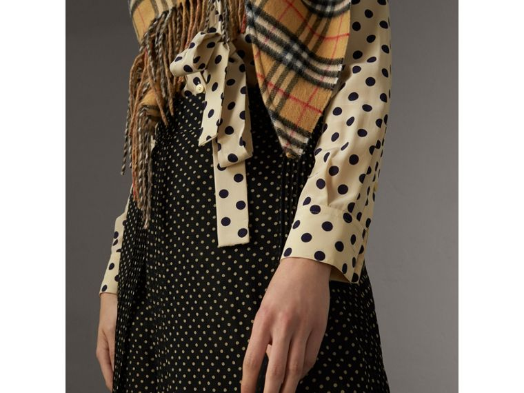 Pintuck Detail Dot Print Silk Skirt in Black - Women | Burberry Singapore - cell image 1