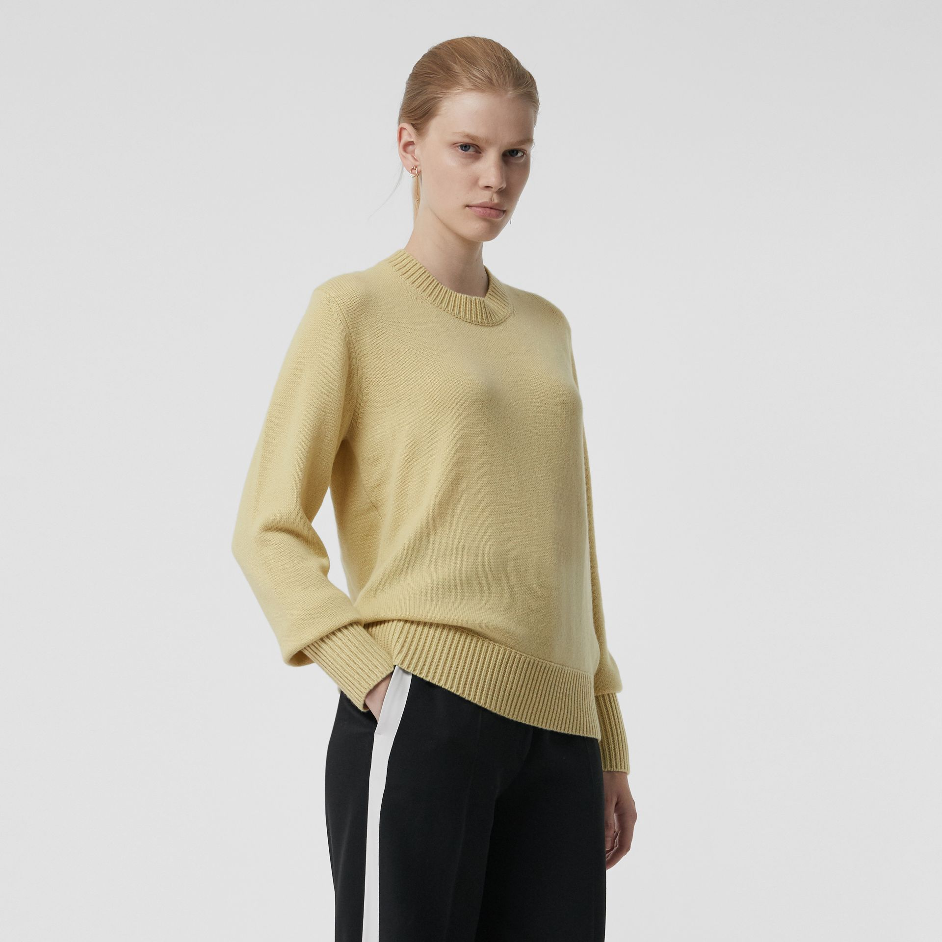 Archive Logo Appliqué Cashmere Sweater in Dusty Yellow - Women | Burberry Canada - gallery image 4