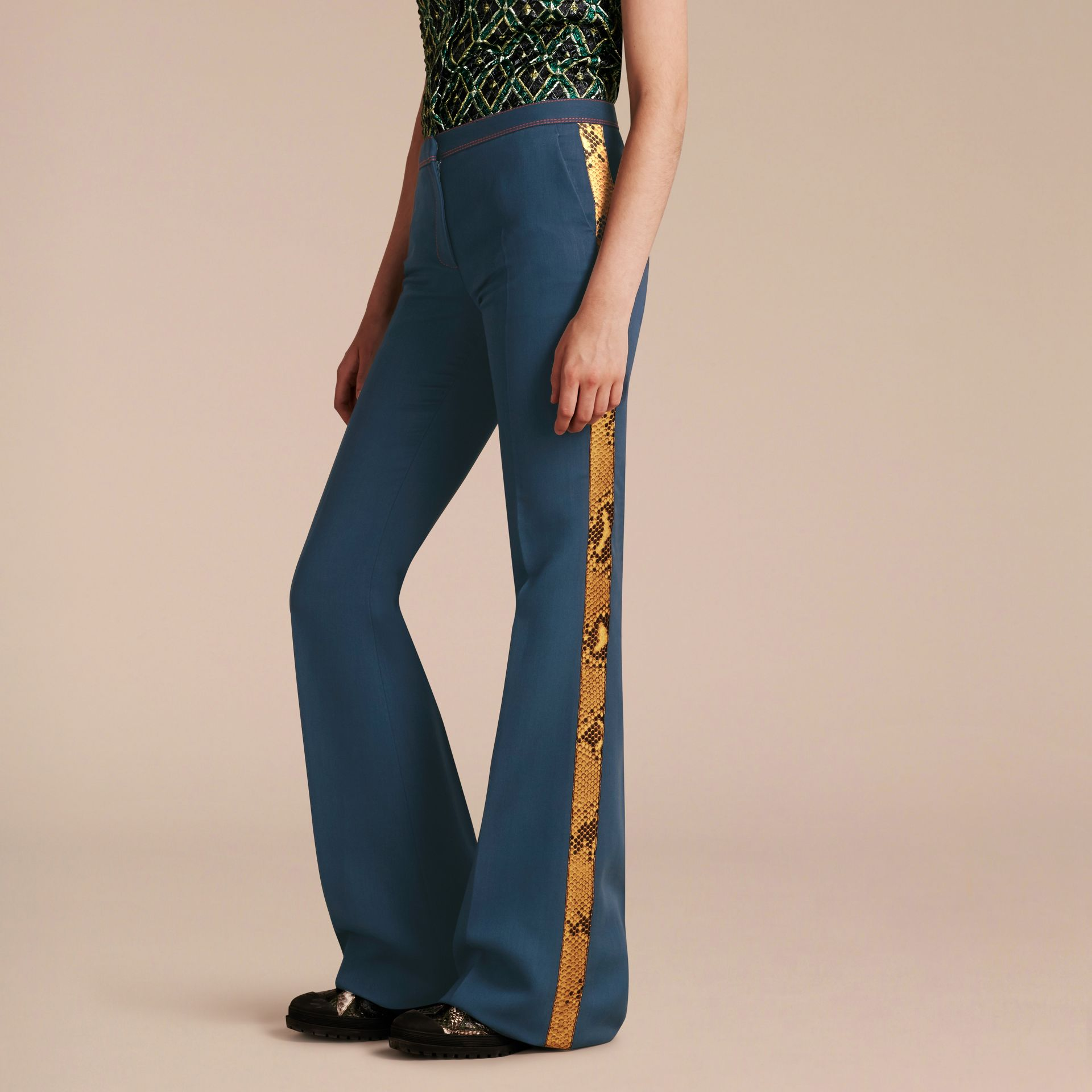 Ink blue Python Print Trim Wool Silk Flared Officer Trousers - gallery image 7