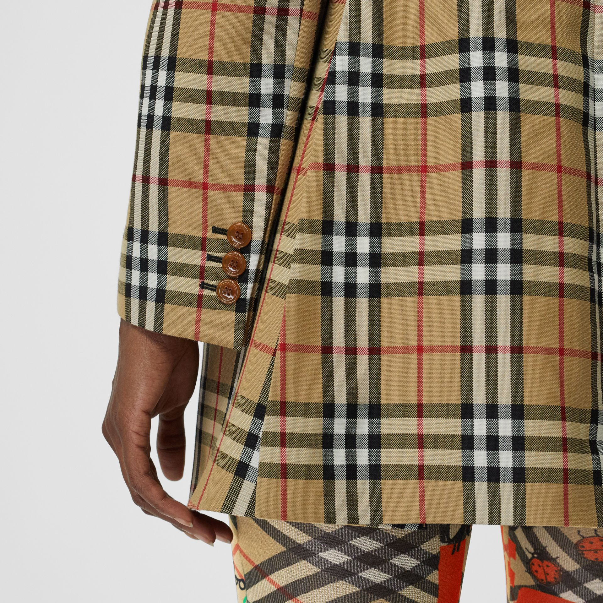 Vintage Check Wool Double-breasted Jacket in Antique Yellow - Women | Burberry - gallery image 6