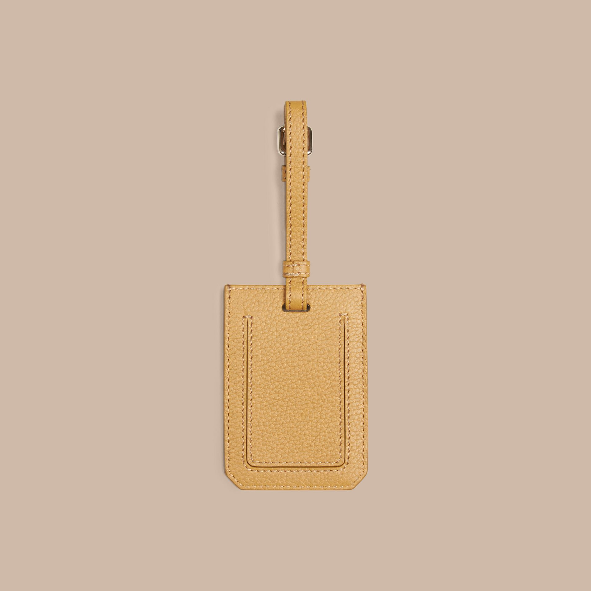 Grainy Leather Luggage Tag in Ochre Yellow | Burberry - gallery image 2