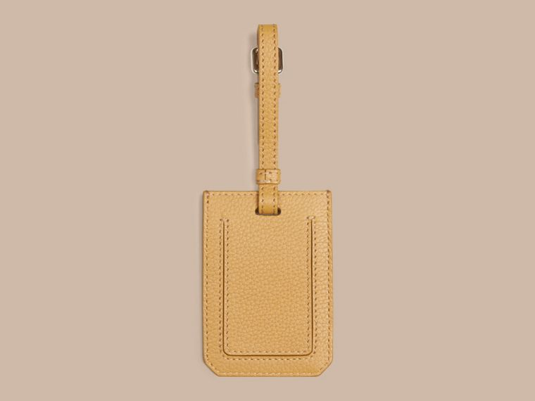 Grainy Leather Luggage Tag in Ochre Yellow | Burberry United Kingdom - cell image 1