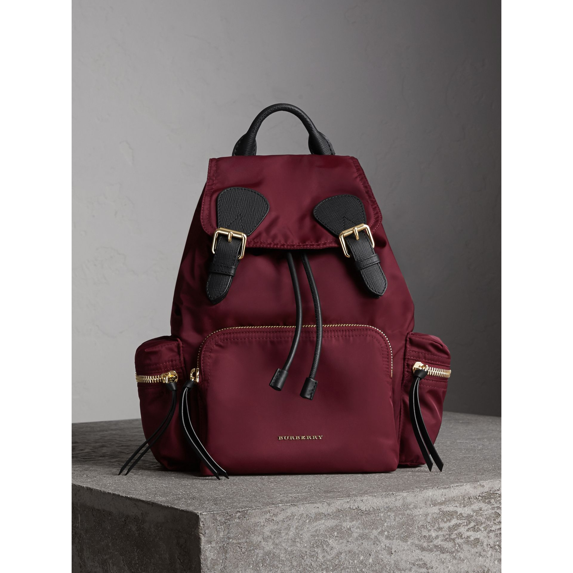 The Medium Rucksack in Technical Nylon and Leather in Burgundy Red - Women | Burberry United Kingdom - gallery image 6