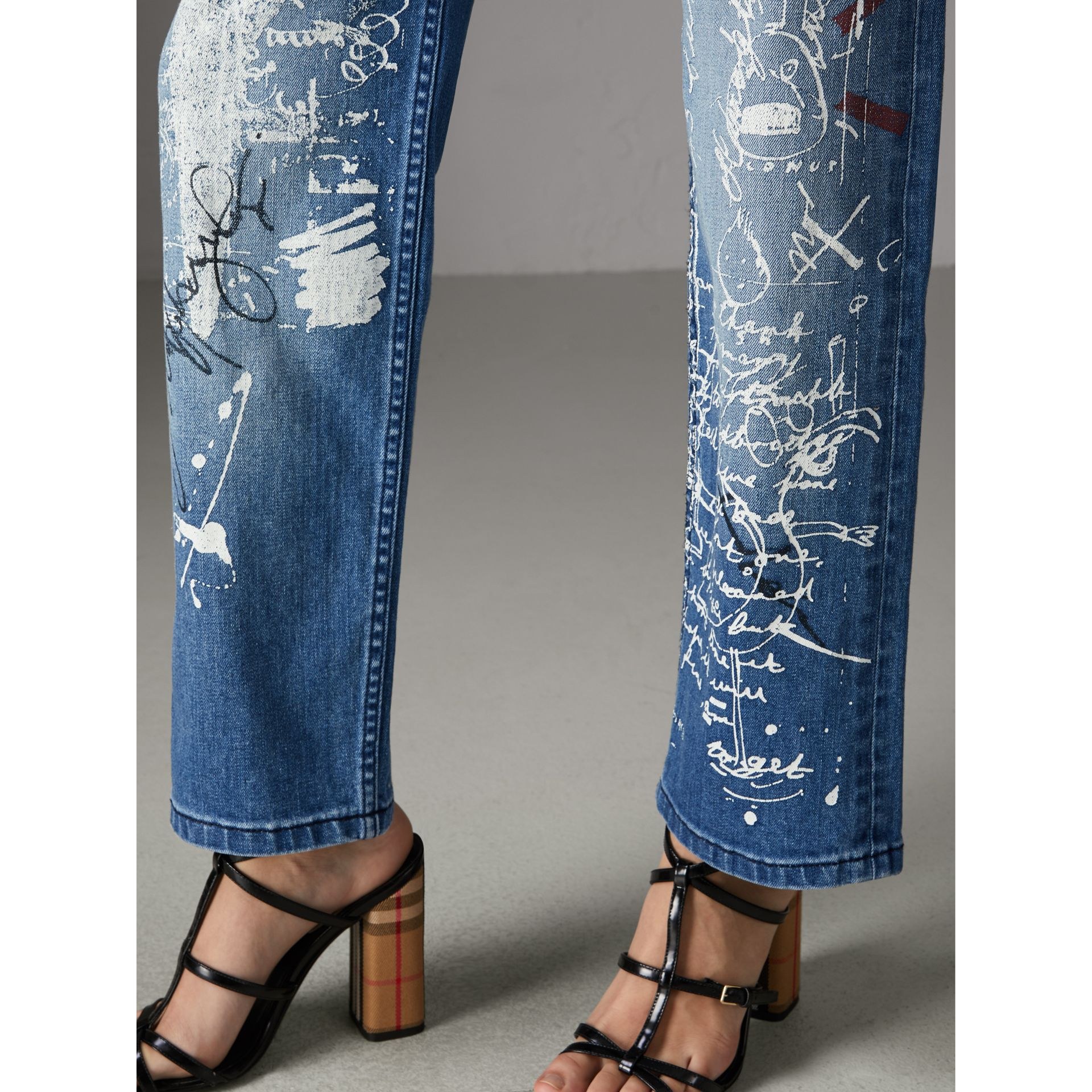 Straight Fit Postcard Print Stretch Jeans in True Indigo Melange - Women | Burberry Canada - gallery image 4
