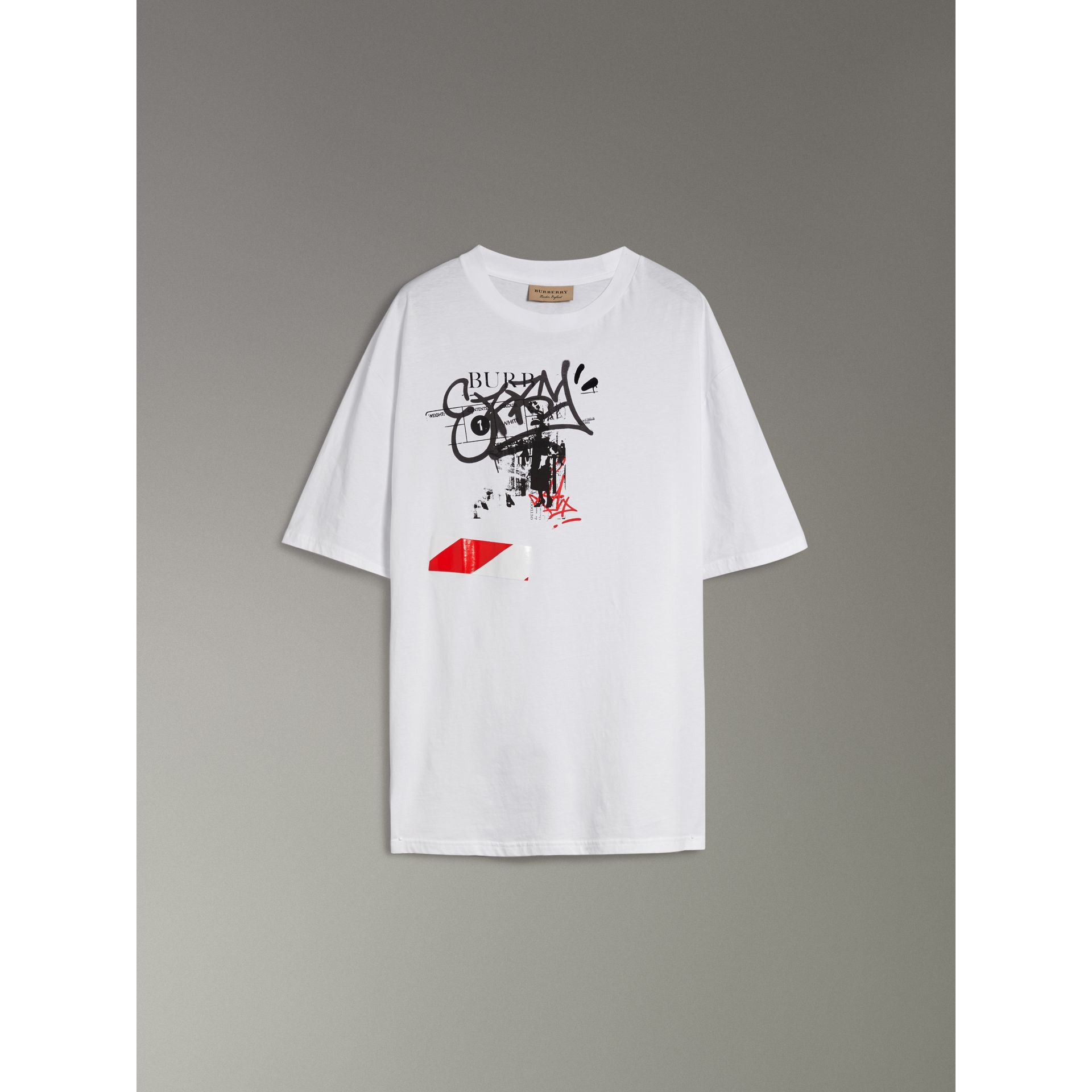 Graffitied Ticket Print Cotton T-shirt in White - Men | Burberry - gallery image 3