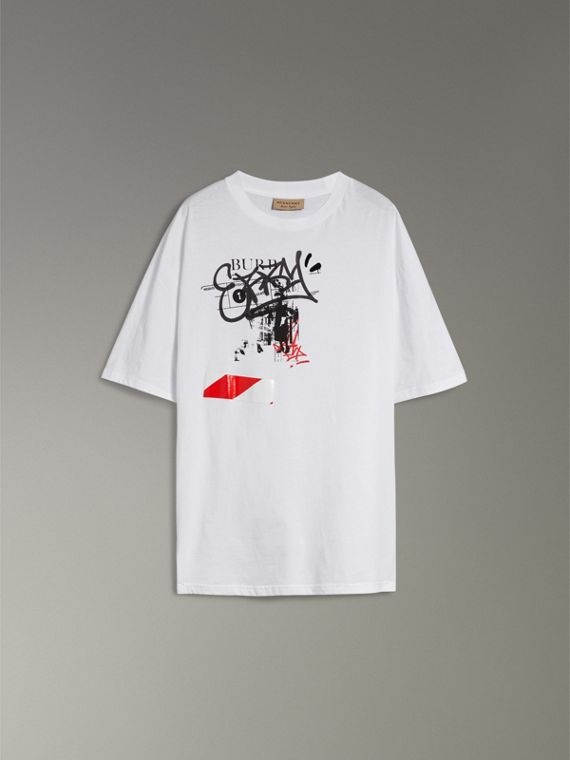 Graffitied Ticket Print Cotton T-shirt in White - Men | Burberry - cell image 3